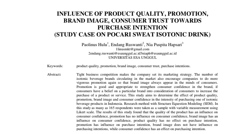 Influence Of Product Quality, Promotion, Brand Image, Consumer Trust Towards Purchase Intention (Study Case On Pocari Sweat Isotonic Drink)