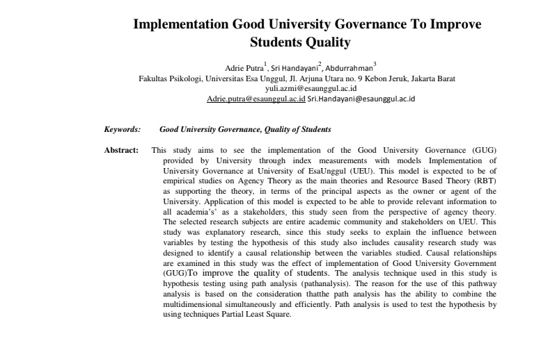 Implementation Good University Governance To Improve Students Quality