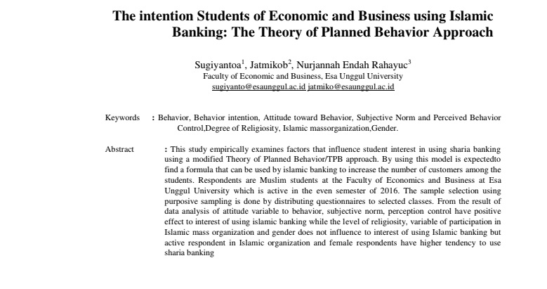 The intention Students of Economic and Business using Islamic Banking: The Theory of Planned Behavior Approach