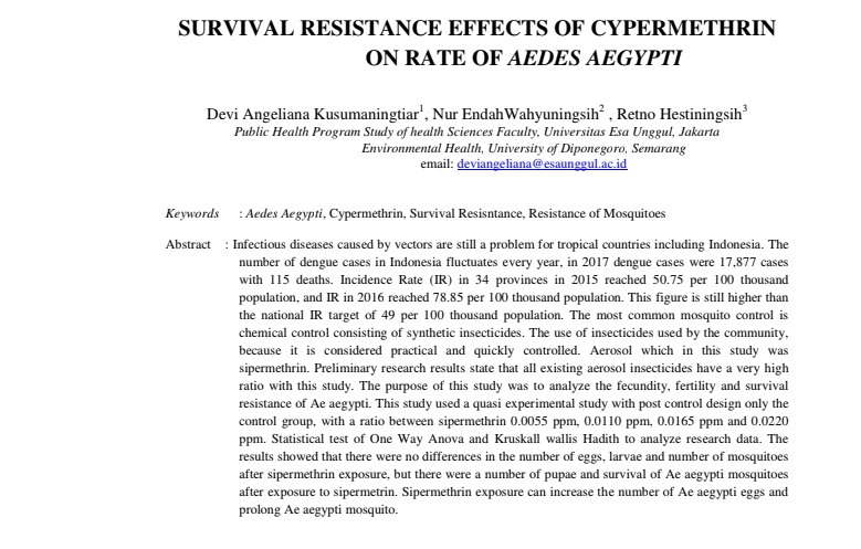 Survival Resistance Effects Of Cypermethrin On Rate Of Aedes Aegypti