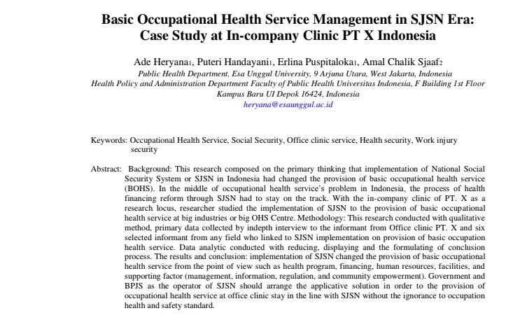 Basic Occupational Health Service Management in SJSN Era: Case Study at In-company Clinic PT X Indonesia