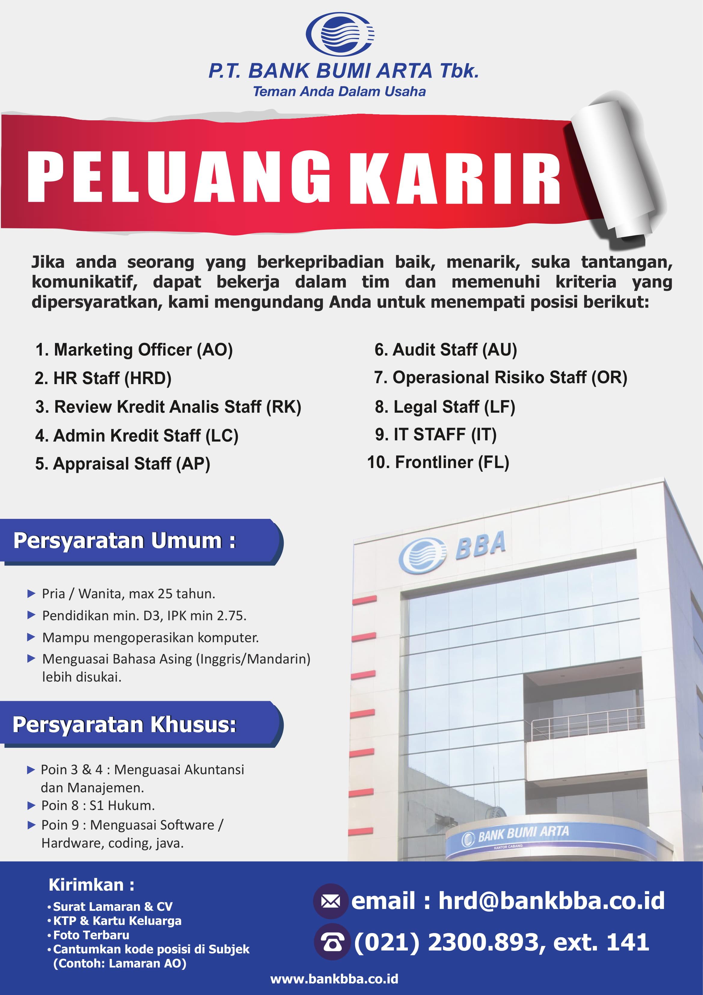 Lowongan Kerja PT. Bank Bumi Arta
