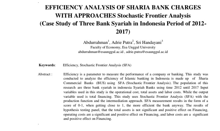 Efficiency Analysis Of Sharia Bank Charges With Approaches Stochastic Frontier Analysis (Case Study of Three Bank Syariah in Indonesia Period of 2012-2017