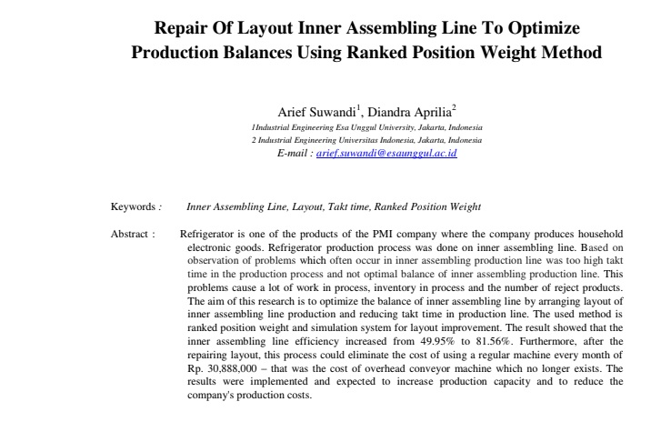 Repair Of Layout Inner Assembling Line To Optimize Production Balances Using Ranked Position Weight Method