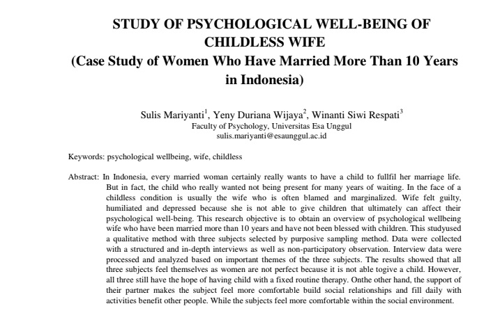 Study Of Psychological Well-Being Of Childless Wife (Case Study Of Women Who Have Married More Than 10 Years In Indonesia)