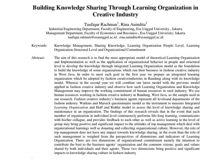 Building Knowledge Sharing Through Learning Organization in Creative Industry