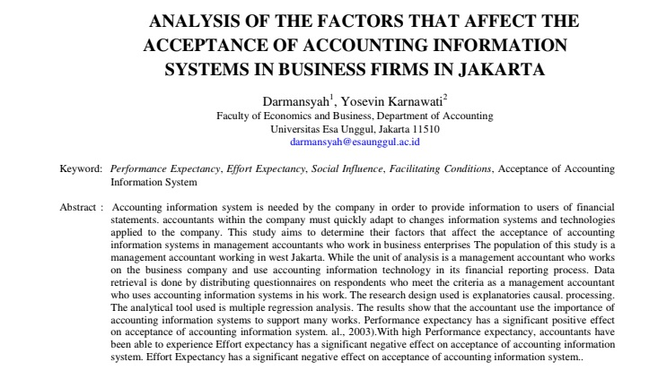 Analysis Of The Factors That Affect The Acceptance Of Accounting Information Systems In Business Firms In Jakarta