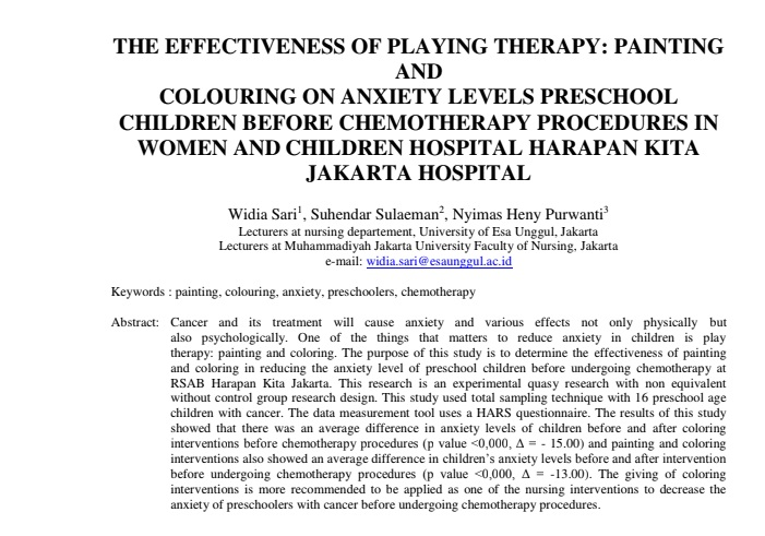 The Effectiveness Of Playing Therapy: Painting And Colouring On Anxiety Levels Preschool Children Before Chemotherapy Procedures In Women And Children Hospital Harapan Kita Jakarta Hospital