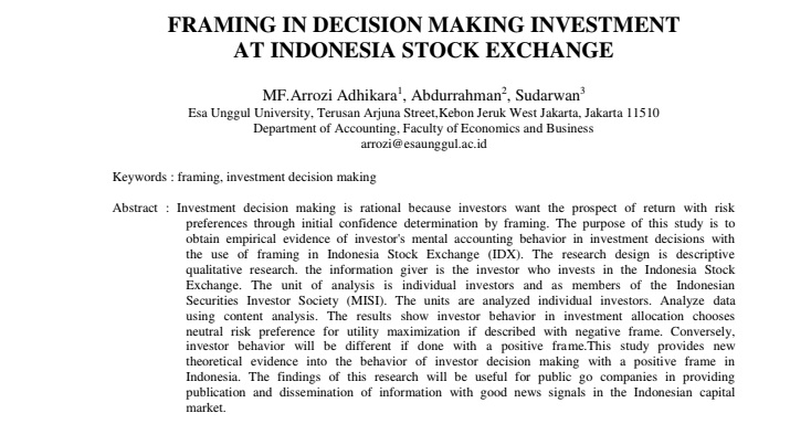 Framing In Decision Making Investment At Indonesia Stock Exchange