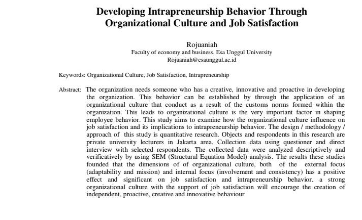 Developing Intrapreneurship Behavior Through Organizational Culture and Job Satisfaction