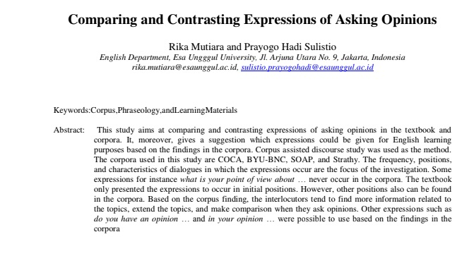 Comparing and Contrasting Expressions of Asking Opinions