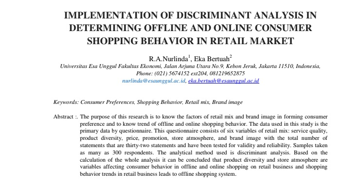 Implementation Of Discriminant Analysis In Determining Offline And Online Consumer Shopping Behavior In Retail Market