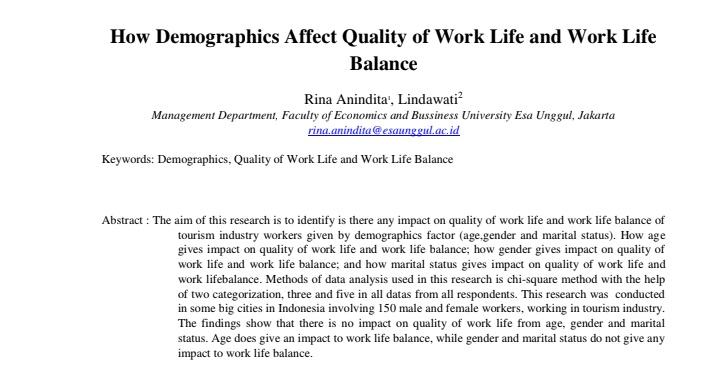 How Demographics Affect Quality of Work Life and Work Life Balance