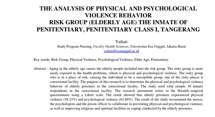 The Analysis Of Physical And Psychological Violence Behavior Risk Group (Elderly Age) The Inmate Of Penitentiary, Penitentiary Class I, Tangerang