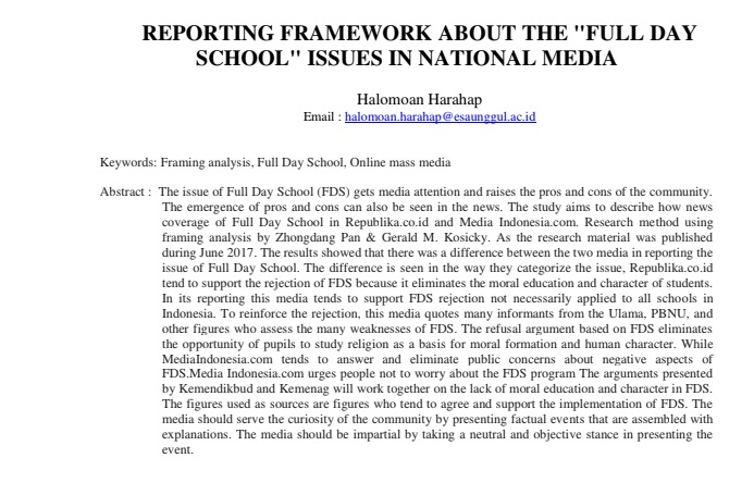"Reporting Framework About The ""Full Day School"" Issues In National Media"