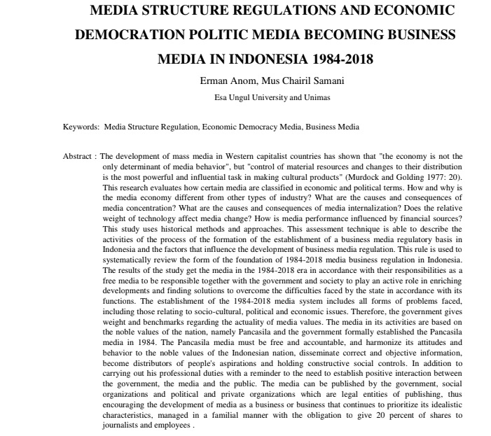 Media Structure Regulations And Economic Democration Politic Media Becoming Business Media In Indonesia 1984-2018