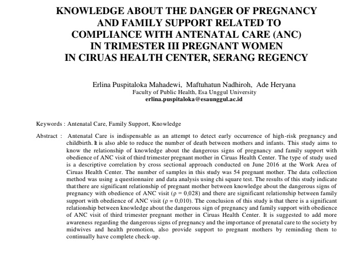 Knowledge About The Danger Of Pregnancy And Family Support Related To Compliance With Antenatal Care (ANC) In Trimester III Pregnant Women In Ciruas Health Center, Serang Regency