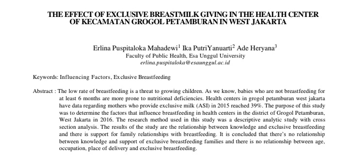 The Effect Of Exclusive Breastmilk Giving In The Health Center Of Kecamatan Grogol Petamburan In West Jakarta