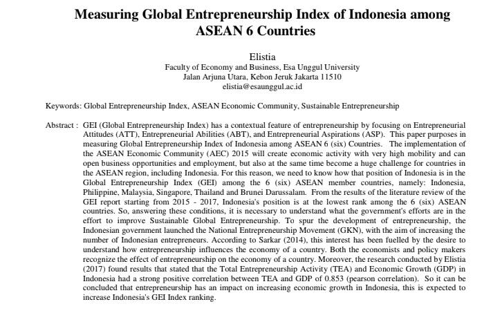 Measuring Global Entrepreneurship Index of Indonesia among ASEAN 6 Countries