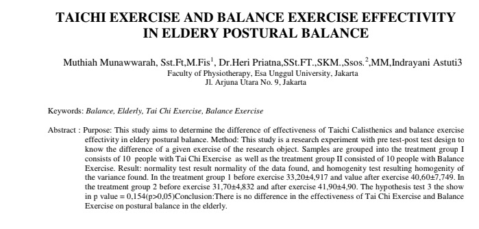 Taichi Exercise And Balance Exercise Effectivity In Eldery Postural Balance
