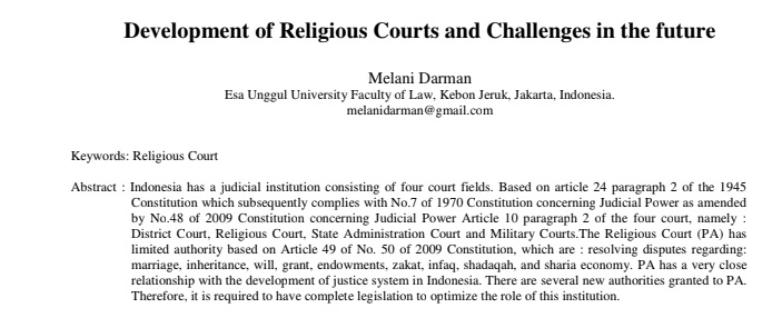 Development of Religious Courts and Challenges in the future