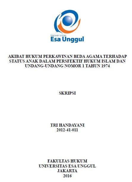 Akibat Hukum Perkawinan Beda Agama Terhadap Status Anak Dalam Persfektif Hukum Islam Dan Undang-Undang Nomor 1 Tahun 1974