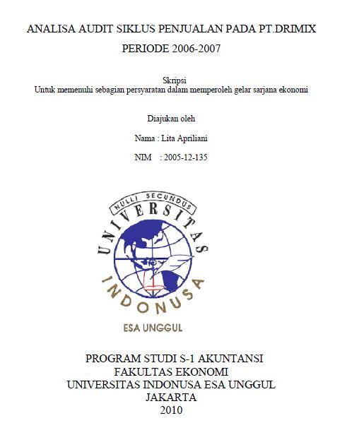 Analisa Audit Siklus Penjualan Pada Pt. Drimix Periode 2006-2007