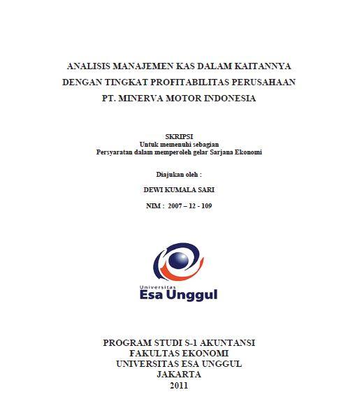 Analisis Manajemen Kas Dalam Kaitannya Dengan Tingkat Profitabilitas Perusahaan Pt. Minerva Motor Indonesia