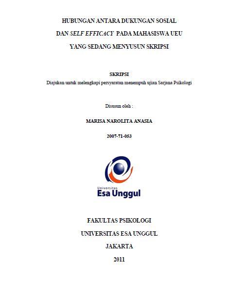 Hubungan Antara Dukungan Sosial Dan Self Efficacy Pada Mahasiswa Ueu Yang Sedang Menyusun Skripsi