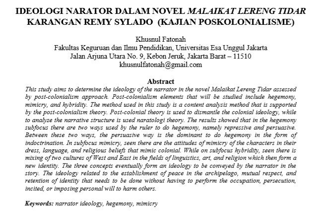 Ideologi Narator Dalam Novel Malaikat Lereng Tidar Karangan Remy Sylado (Kajian Poskolonialisme)