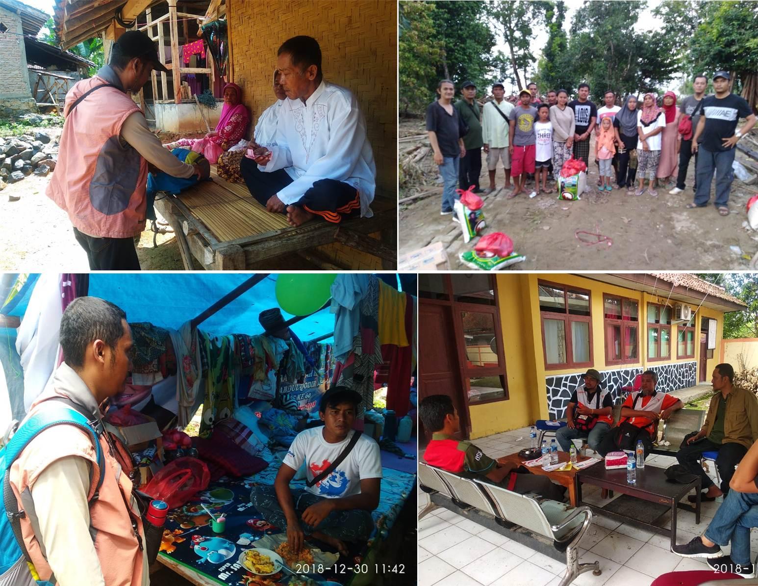 Kegiatan Sukarelawan Esa Unggul Ketika membantu Korban Tsunami Pandeglang