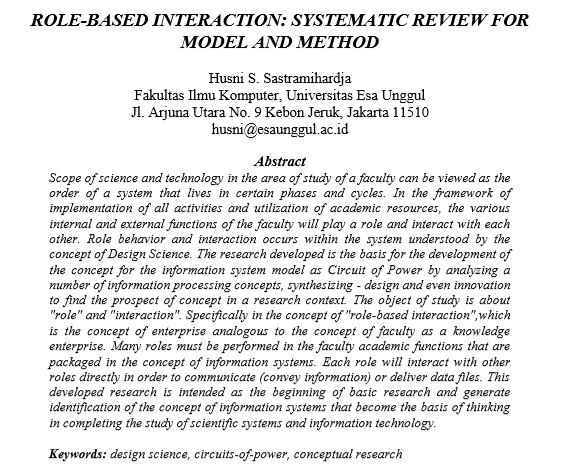 Role-Based Interaction Systematic Review for Model and Method