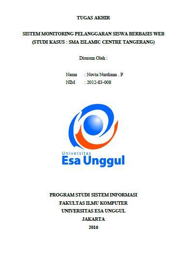 Sistem Monitoring Pelanggaran Siswa Berbasis Web (Studi Kasus : Sma Islamic Centre Tangerang)