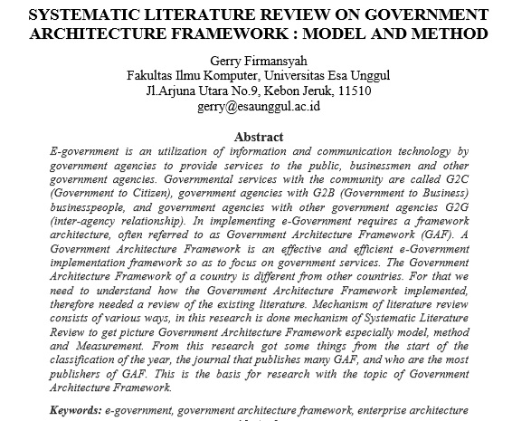Systematic Literature Review on Government Architecture Framework  Model And Method
