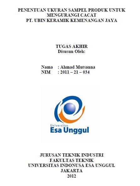 Penentuan Ukuran Sampel Produk Untuk Mengurangi Cacat PT. Ubin Keramik Kemenangan Jaya
