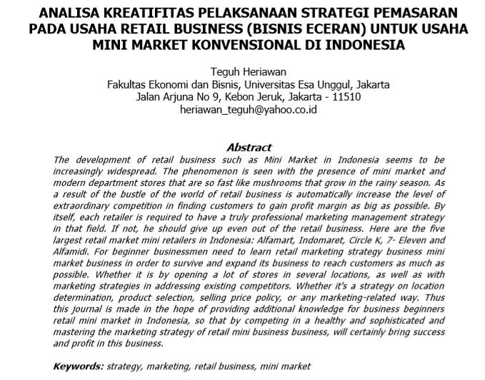 Analisa Kreatifitas Pelaksanaan Strategi Pemasaran Pada Usaha Retail Business (Bisnis Eceran) Untuk Usaha Mini Market Konvensional Di Indonesia