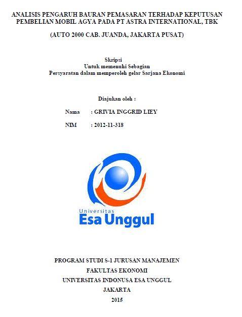 Analisis Pengaruh Bauran Pemasaran Terhadap keputusan Pembelian Mobil Agya Pada PT Astra International, TBK