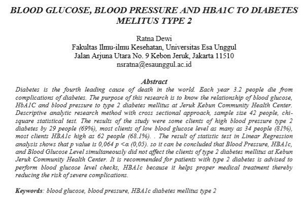 Blood Glucose, Blood Pressure And HBA1C to Diabetes Melitus Type 2