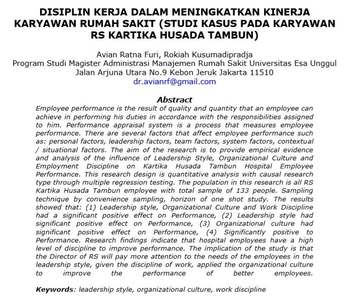 Disiplin Kerja Dalam Meningkatkan Kinerja Karyawan Rumah Sakit (Studi Kasus Pada Karyawan RS Kartika Husada Tambun)