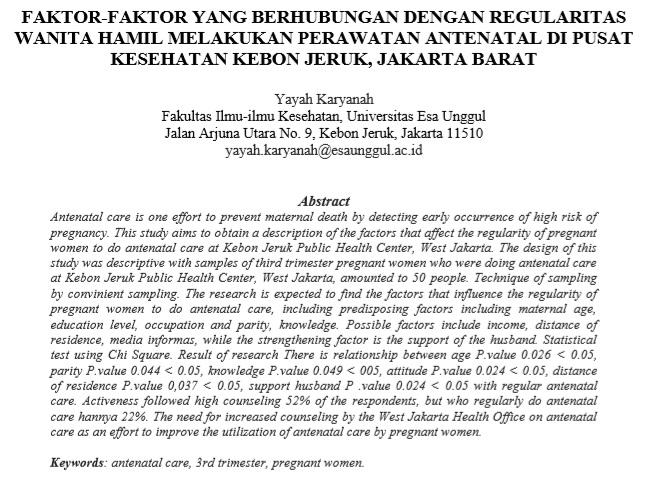 Faktor-Faktor Yang Berhubungan Dengan Regularitas Wanita Hamil Melakukan Perawatan Antenatal Di Pusat Kesehatan Kebon Jeruk, Jakarta Barat