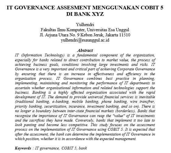 IT Governance Assesment Menggunakan Cobit 5 di Bank XYZ