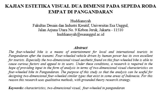 Kajian Estetika Visual Dua Dimensi Pada Sepeda Roda Empat Di Pangandaran