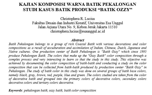 """Kajian Komposisi Warna Batik Pekalongan  Studi Kasus Batik Produksi """"Batik Ozzy"""""""