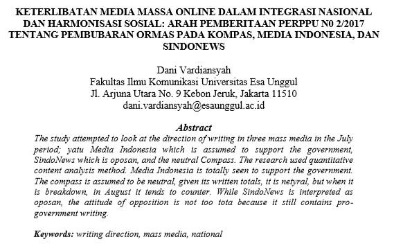 Keterlibatan Media Massa Online dalam Integrasi Nasional dan Harmonisasi Sosial Arah Pemberitaan Perppu N0 2/2017 Tentang Pembubaran ORMAS pada Kompas, Media Indonesia, dan Sindonews