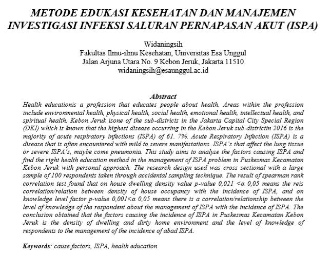 Metode Edukasi Kesehatan Dan Manajemen Investigasi Infeksi Saluran Pernapasan Akut (ISPA)