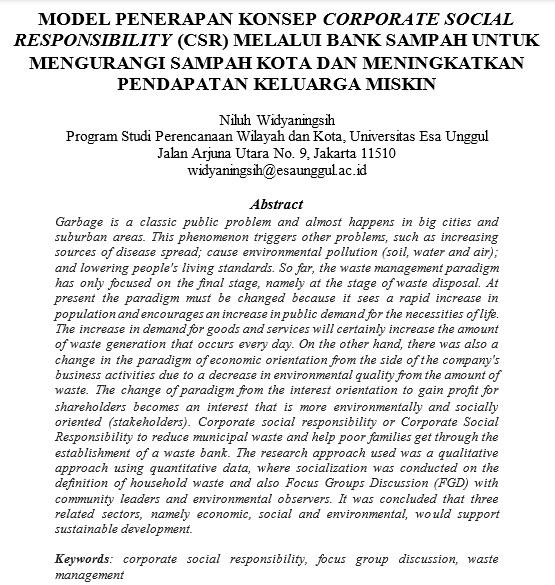 Model Penerapan Konsep Corporate Social Responsibility (CSR) Melalui Bank Sampah Untuk Mengurangi Sampah Kota Dan Meningkatkan Pendapatan Keluarga Miskin