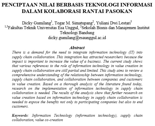 Penciptaan Nilai Berbasis Teknologi Informasi Dalam Kolaborasi Rantai Pasokan