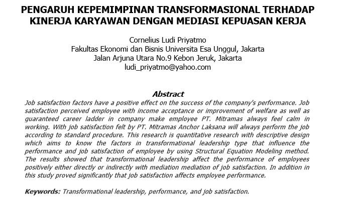 Pengaruh Kepemimpinan Transformasional Terhadap Kinerja Karyawan Dengan Mediasi Kepuasan Kerja