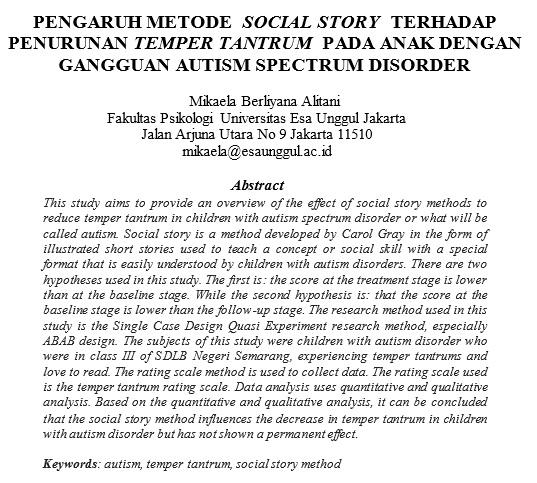 Pengaruh Metode Social Story Terhadap Penurunan Temper Tantrum Pada Anak Dengan Gangguan Autism Spectrum Disorder