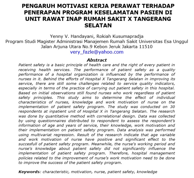 Pengaruh Motivasi Kerja Perawat Terhadap Penerapan Program Keselamatan Pasien Di Unit Rawat Inap Rumah Sakit X Tangerang Selatan